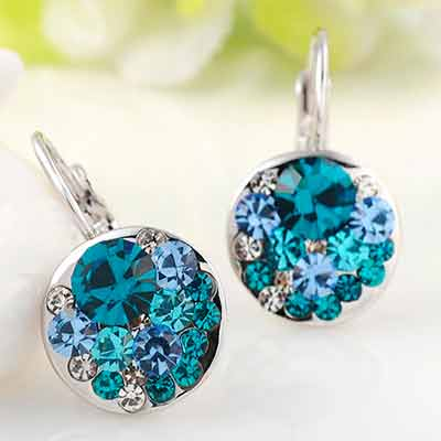 free blue round stone earrings - Free Blue Round Stone Earrings
