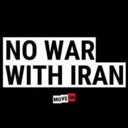 "free no war with iran sticker 180x180 - Free ""No War With Iran"" sticker"
